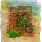 Painted Lutradur, silk roving, silk ribbon, Image transfer using Transfer Artist Paper (TAP), machine stitched