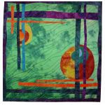 Green Silk; Started in class with Sue Benner, hand-dyed silk, machine stitching