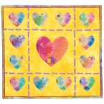 Hearts of a Different Color; inkjet printed and hand-dyed cotton, machine stitching