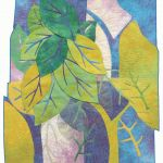 Leaves - hand-dyed cotton, machine stitching