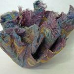 Hand-dyed silk fiber vessel