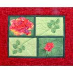 Ruth's Rose; made using pattern from Pieced Flowers by Ruth B. McDowell; commercial and hand-dyed cotton, machine stitching