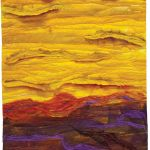 Sunset; acrylic paint with silk rods and roving